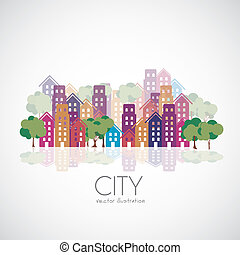 Illustration of city buildings silhouettes and colors, vector illustration