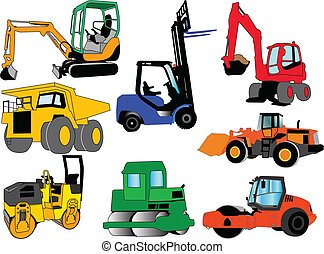 collection of construction machines