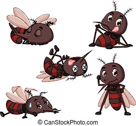collection of mosquito cartoon