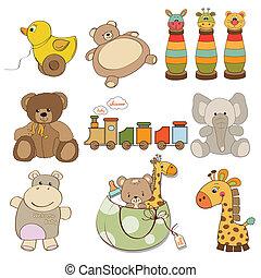 illustration of different toys item