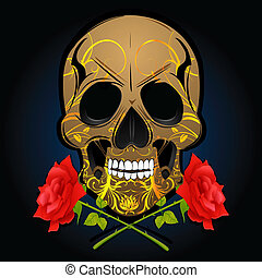 floral bone with roses