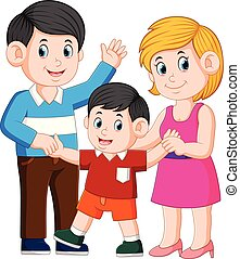 happy young family with one child standing together
