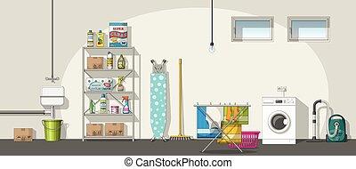 Illustration of interior equipment of a basement, panorama