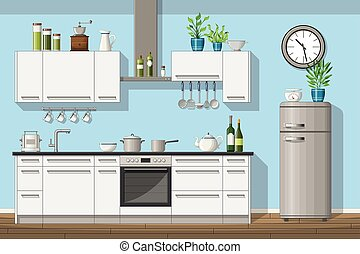 Illustration of interior equipment of a modern kitchen