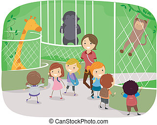 Illustration of Kids Observing Animals in a Zoo
