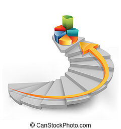 pie chart in steps with arrow