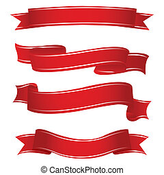 illustration of shapes of ribbons on white background