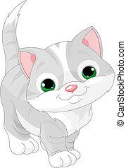 Illustration of very Cute gray kitten