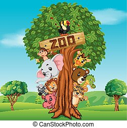 collection of zoo animals with guide