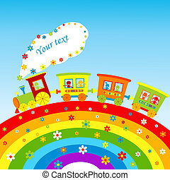 Illustration with cartoon train, rainbow and place for your text