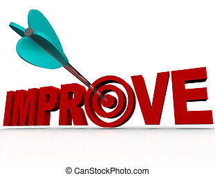 An arrow in a bulls-eye within the word Improve symbolizing the successful reaching of a goal for improving your life or increasing the effectiveness of an organization or project