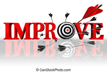 improve red word and conceptual target with arrow on white background
