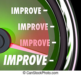 Improve Word on a green speedometer or measurement gauge to illustrate increasing performance and results for more growth