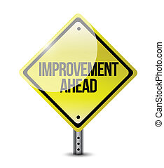 improvement ahead road sign illustration design over a white background