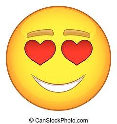 In love emoticon icon, cartoon style