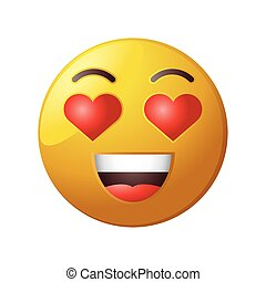 in love emoticon on white background
