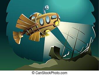 Weird wooden submarine or bathyscaphe exploring bottom of the sea with sunken ship, vector illustration