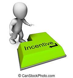Incentive Key Showing Reward Premium Or Bonus