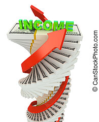 Income growth concept. Spiral dollar stack with arrows isolated on white