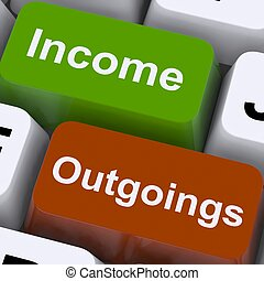 Income Outgoings Keys Showing Budgeting And Bookkeeping