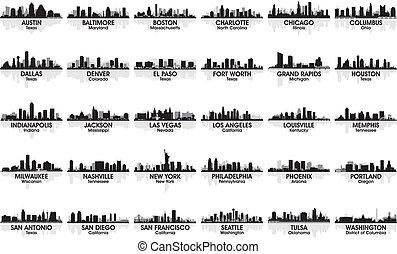 Incredible set of USA city skyline. 30 cities.