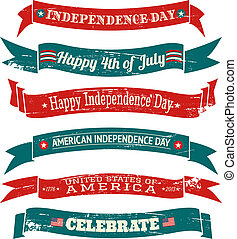 A set of six grungy US Independence Day banners isolated on white background.