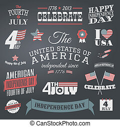 A set of chalkboard style typographic elements for Independence Day.