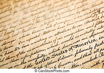 """declaration of independe, horizontal background, macro with shallow dof and focus on """"united states of america"""""""
