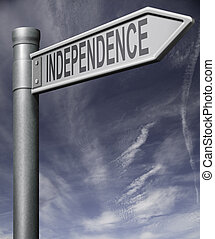 Independence sign with clipping path on blue sky background