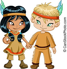 A vector illustration of children dressed as indians and holding hands for thanksgiving or halloween.