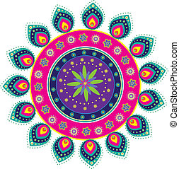 Stock Vector Illustration: Colorful Indian icon
