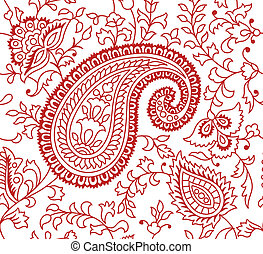 Indian Seamless Textile Pattern. Colors are easily editable.
