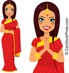 Traditional Indian woman holding hands in prayer position and full body pose