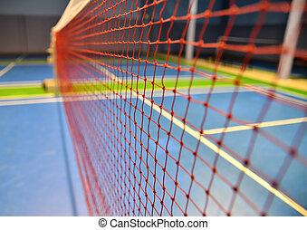indoor badminton net close up