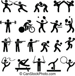 A set of pictogram representing indoor sport, game, and athletic.