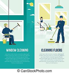 Industrial Cleaning 2 Flat Verticals Banners