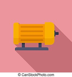 Industrial electric motor icon, flat style