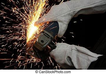 Industrial Grinding Orange Sparks