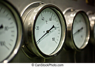 Industrial hydraulic pressure gauge in the factory