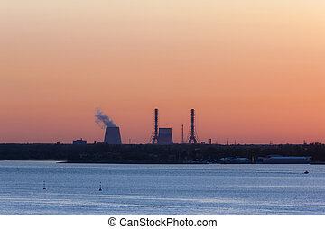 industrial landscape on the seashore
