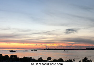 ships on the bay after sunset