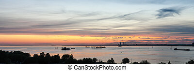 Industrial ships on the bay
