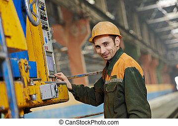 industrial worker operating machine