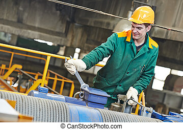 industrial worker with spanner at factory construction workshop