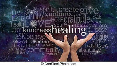 Healer's open palms reaching up with a deep space background of planets, stars and cloud formations scattered with random high resonance healing words