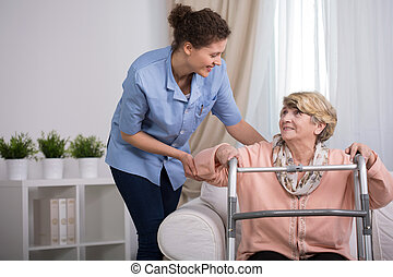 Injured woman with walker