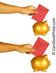 Insert Red Envelope Into Piggy Bank