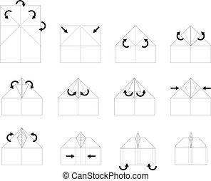 Instruction origami vector