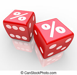 Percent signs on two red dice to symbolize taking a chance to win or find the best interest rates, inflation, savings, or other monetary concept