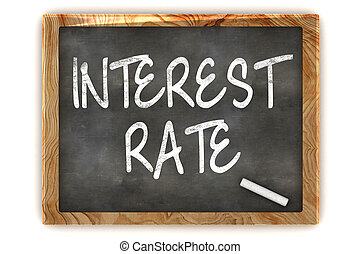 A Colourful 3d Render Interest Rate Concept Blackboard Illustration